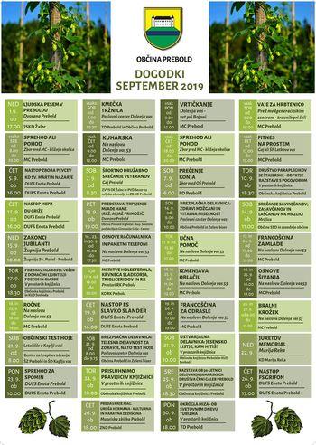 Koledar prireditev - september 2019