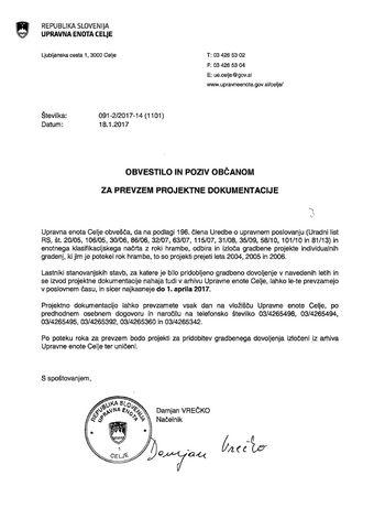 Obvestilo in poziv občanom za prevzem projektne dokumentacije UE Celje