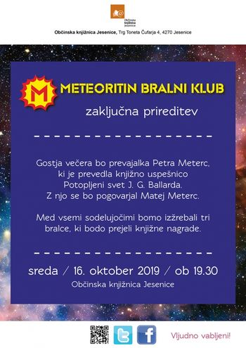 Meteoritin bralni klub - zaključna prireditev
