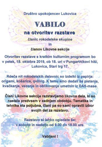 Otvoritev razstave članic rokodelske skupine in članov Likovne sekcije Društva upokojencev Lukovica
