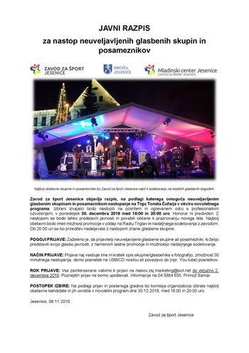 Javni razpis za nastop neuveljavljenih glasbenih skupin na novoletnih prireditvah 2019
