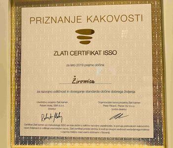Občina Žirovnica prejela zlati certifikat ISSO razvojne odličnosti v 2019