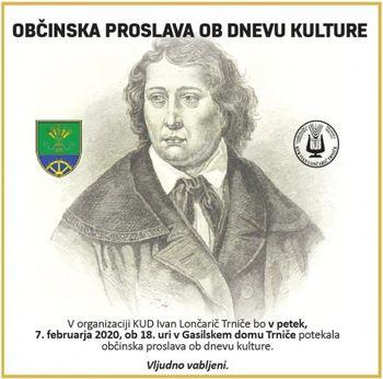 OBČINSKA PROSLAVA OB DNEVU KULTURE - PETEK, 7. 2. 2020