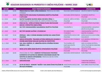 KOLEDAR DOGODKOV ZA MESEC MAREC 2020