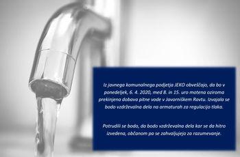 Obvestilo o moteni oziroma prekinjeni dobavi s pitno vodo
