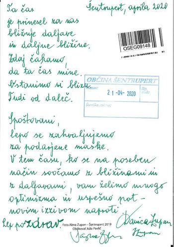 Pismo zahvale občanov
