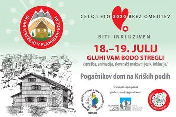 18. in 19. julija Pogačnikov dom na Kriških podih gosti akcijo Gluhi strežejo v planinskih kočah
