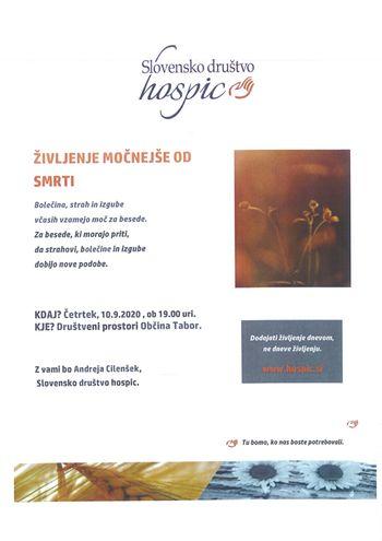 Vabilo na predavanje Slovenskega društva Hospic