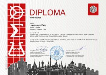 """Tretja nagrada našemu študentu na mednarodnem tekmovanju """"Step into the future"""" v Moskvi"""