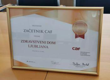 Zdravstveni dom Ljubljana prejel priznanje CAF