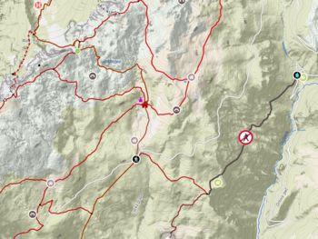 ZAPRTA POT med planinama Kosmačeve Rastke in Cirkovnica