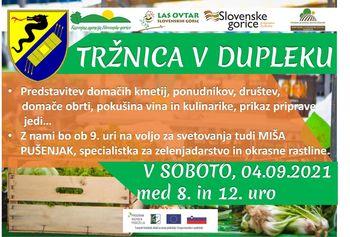 Tržnica v Dupleku - predstavitev lokalnih ponudnikov