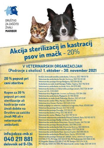 AKCIJA -20% na sterilizacijo in kastracijo psov in mačk
