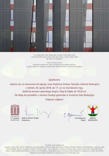 Vabilo na slovesnost ob odprtju nove Knjižnice A. T. Linharta Radovljica