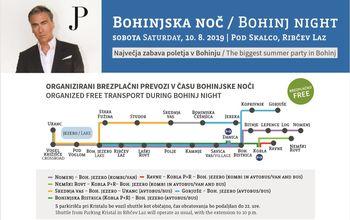 Na Bohinjsko noč v soboto, 10. avgusta, ob 20:00 v Ribčevem Lazu z brezplačnim organiziranim prevozom