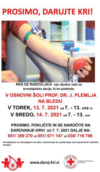 13. in 14. julija krvodajalska akcija na Bledu