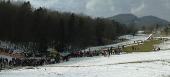 Smučarski skoki z alpskimi smučmi na 15- in 25- metrski skakalnici