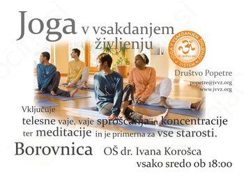 23. septembra 2015 ob 18. uri se začenja vadbe joge za vse starostne skupine