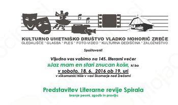 Branje odlomkov iz Literarne revije Spirala v Skomarski hiši