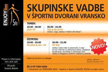 Skupinske vadbe v športni dvorani Vransko