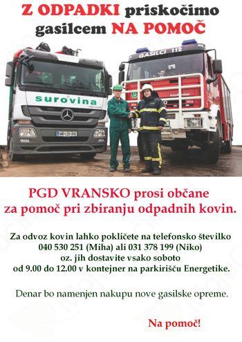 PGD VRANSKO prosi občane za pomoč pri zbiranju odpadnih kovin