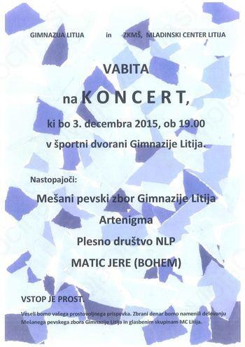 Koncert Mešanega pevskega zbora Gimnazije Litija, Artenigma, NLP in Matic Jere