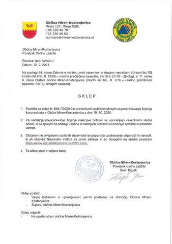 Poveljnik CZ preklical sklep o preventivnih zaščitnih ukrepih za širjenja koronavirusa v Občini Miren-Kostanjevica