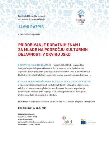 Javni razpis za pridobivanje dodatnih znanj za mlade na področju kulturnih dejavnosti v okviru JSKD