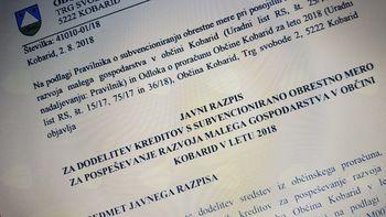 Javni razpis za dodelitev kreditov s subvencionirano obrestno mero za pospeševanje razvoja malega gospodarstva v občini Kobarid v letu 2018