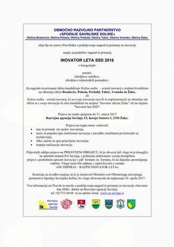 Razpis za podelitev nagrad in priznanj INOVATOR LETA SSD 2016