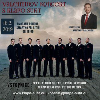 Valentinov koncert s Klapo Šufit in baritonistom Darkom Vidicem