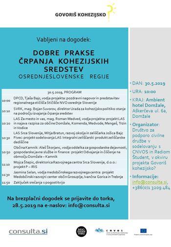 Dobre prakse črpanja kohezijskih sredstev osrednjeslovenske regije