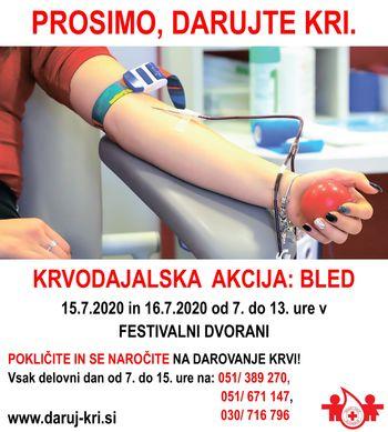 Krvodajalska akcija 15. in 16. julija v Festivalni dvorani na Bledu