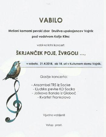 Letni koncert Mešanega komornega pevskega zbora Društva upokojencev Vojnik