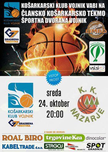 Članska košarkarska tekma KK Vojnik Gradbena trgovina G7 : KK Nazarje