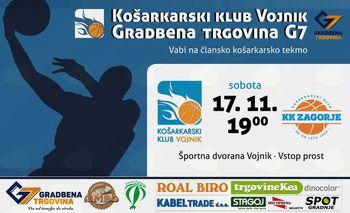 Danes članska tekma med KK Vojnik in KK Zagorje