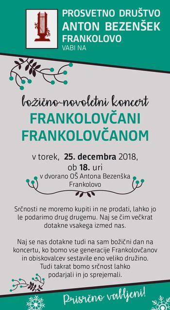 Vabilo na božično-novoletni koncert Frankolovo