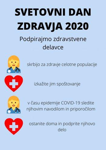 7. april 2020 - Svetovni dan zdravja - Svetovni dan zdravja letos posvečen medicinskim sestram, zdravstvenim tehnikom in babicam
