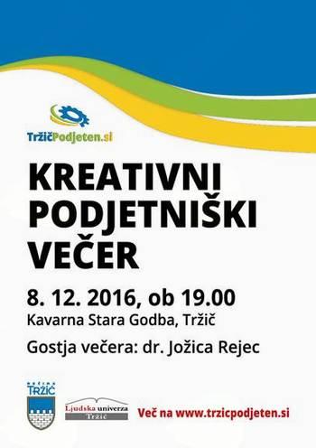 Kreativni podjetniški večer z dr. Jožico Rejec