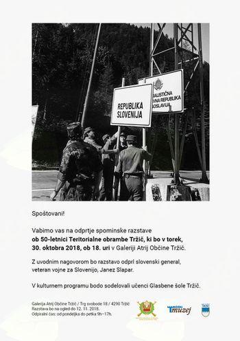 Spominska razstava ob 50. letnici Teritorialne obrambe Tržič