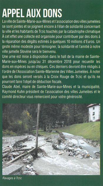 Zahvala prebivalcem pobratenega mesta Sainte Marie aux Mines za solidarnost ob jesenski ujmi