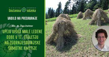 Vabilo na predavanje - Vpliv viška male ledene dobe v 17. stoletju na Zgornjesavinjske samotne kmetije