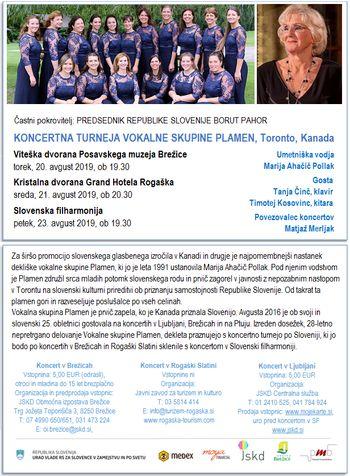 Koncertna turneja Vokalne skupine Plamen iz Toronta