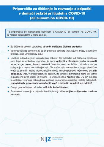 Priporočila za čiščenje in ravnanje z odpadki v domači oskrbi pri ljudeh s COVID-19