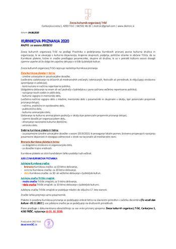 Objavljen je razpis za Kurnikova priznanja 2020