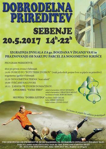 Dobrodelna prireditev prestavljena na soboto 3.6.2017