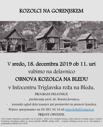 Kozolci na Gorenjskem: obnova kozolca na Bledu