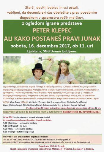 Organizirani ogled predstave Peter Klepec ali Kako postaneš pravi junak v SNG Drama Ljubljana