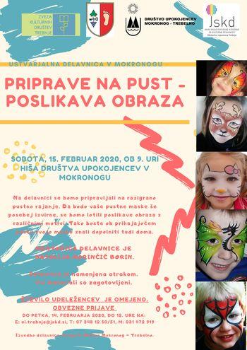 Ustvarjalna delavnica v Mokronogu: Priprave na pust - poslikava obraza