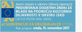 Javni razpis za subvencioniranje zaposlitev mladih do 29. leta na področju kulture